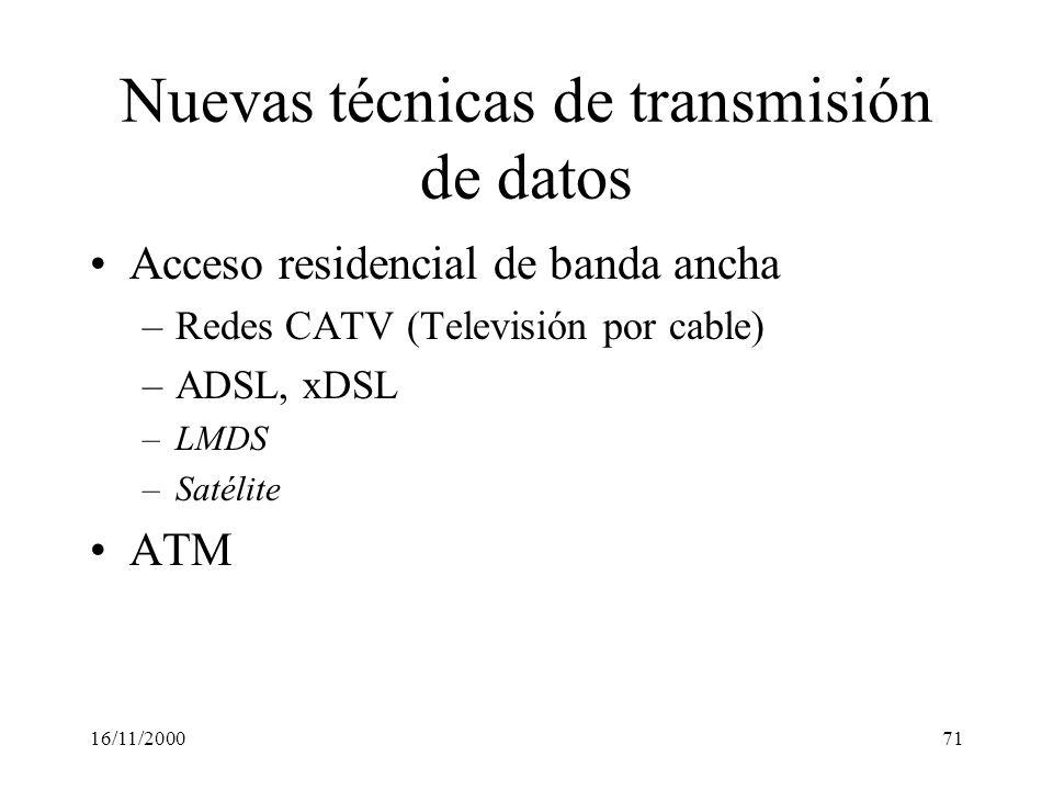 16/11/200071 Nuevas técnicas de transmisión de datos Acceso residencial de banda ancha –Redes CATV (Televisión por cable) –ADSL, xDSL –LMDS –Satélite