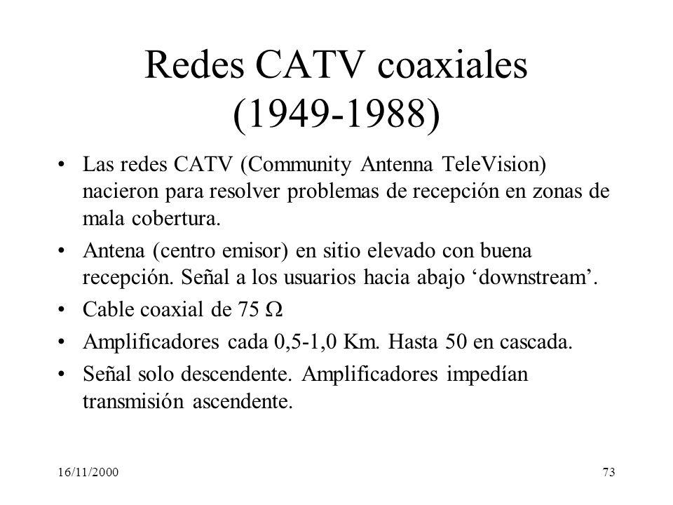 16/11/200073 Redes CATV coaxiales (1949-1988) Las redes CATV (Community Antenna TeleVision) nacieron para resolver problemas de recepción en zonas de