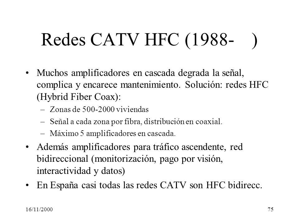 16/11/200075 Redes CATV HFC (1988- ) Muchos amplificadores en cascada degrada la señal, complica y encarece mantenimiento. Solución: redes HFC (Hybrid