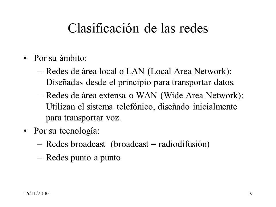 16/11/20009 Clasificación de las redes Por su ámbito: –Redes de área local o LAN (Local Area Network): Diseñadas desde el principio para transportar d