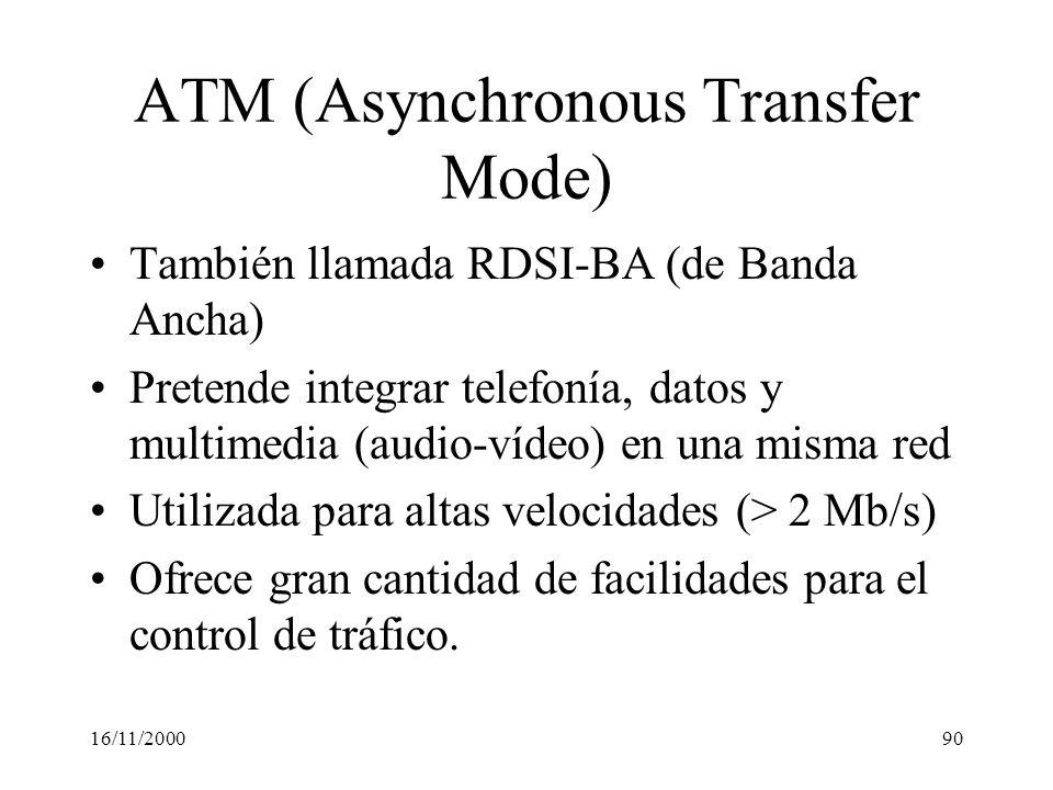 16/11/200090 ATM (Asynchronous Transfer Mode) También llamada RDSI-BA (de Banda Ancha) Pretende integrar telefonía, datos y multimedia (audio-vídeo) e