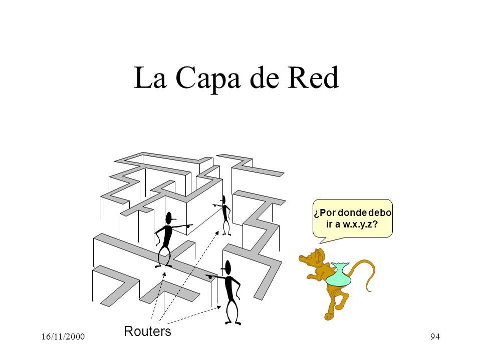 16/11/200094 La Capa de Red ¿Por donde debo ir a w.x.y.z? Routers