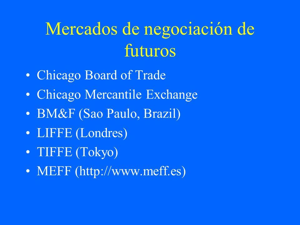 Mercados de negociación de futuros Chicago Board of Trade Chicago Mercantile Exchange BM&F (Sao Paulo, Brazil) LIFFE (Londres) TIFFE (Tokyo) MEFF (htt