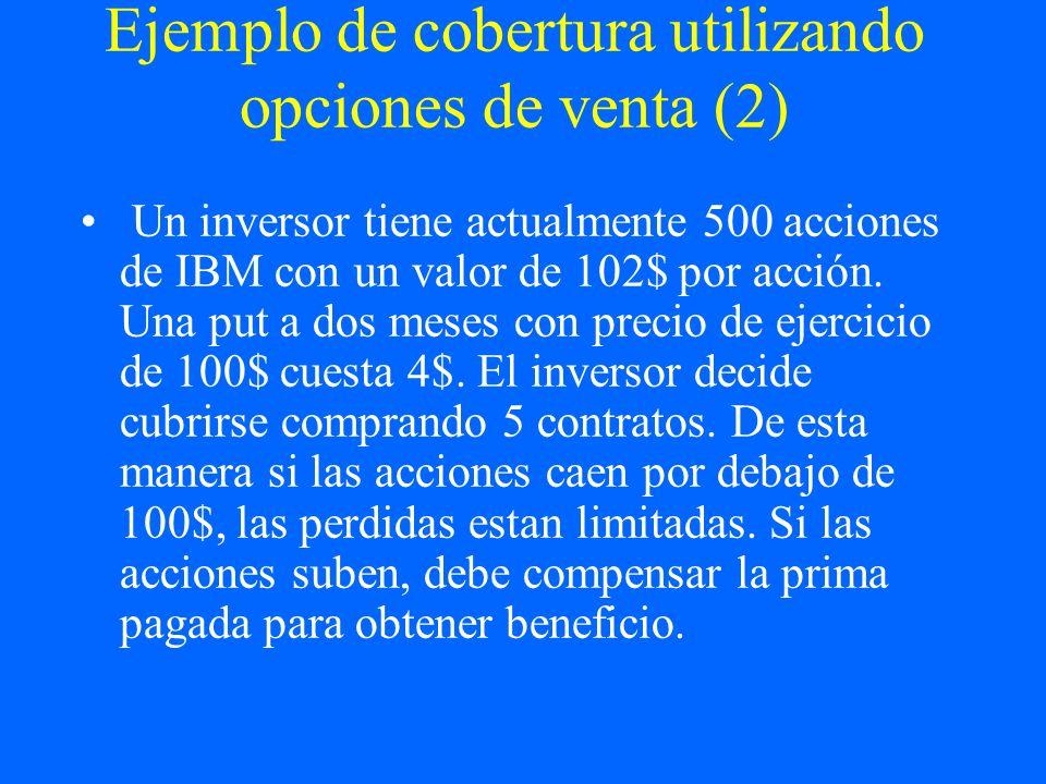 Ejemplo de cobertura utilizando opciones de venta (2) Un inversor tiene actualmente 500 acciones de IBM con un valor de 102$ por acción. Una put a dos