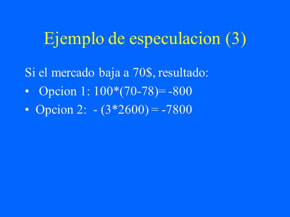 Ejemplo de especulacion (3) Si el mercado baja a 70$, resultado: Opcion 1: 100*(70-78)= -800 Opcion 2: - (3*2600) = -7800