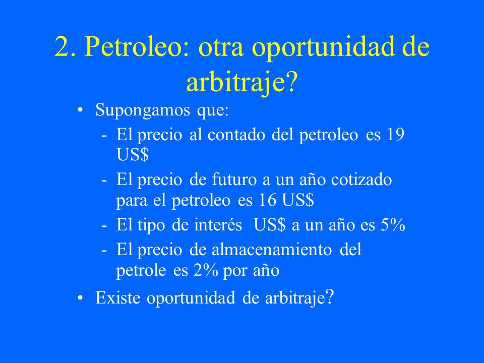 2. Petroleo: otra oportunidad de arbitraje? Supongamos que: -El precio al contado del petroleo es 19 US$ -El precio de futuro a un año cotizado para e
