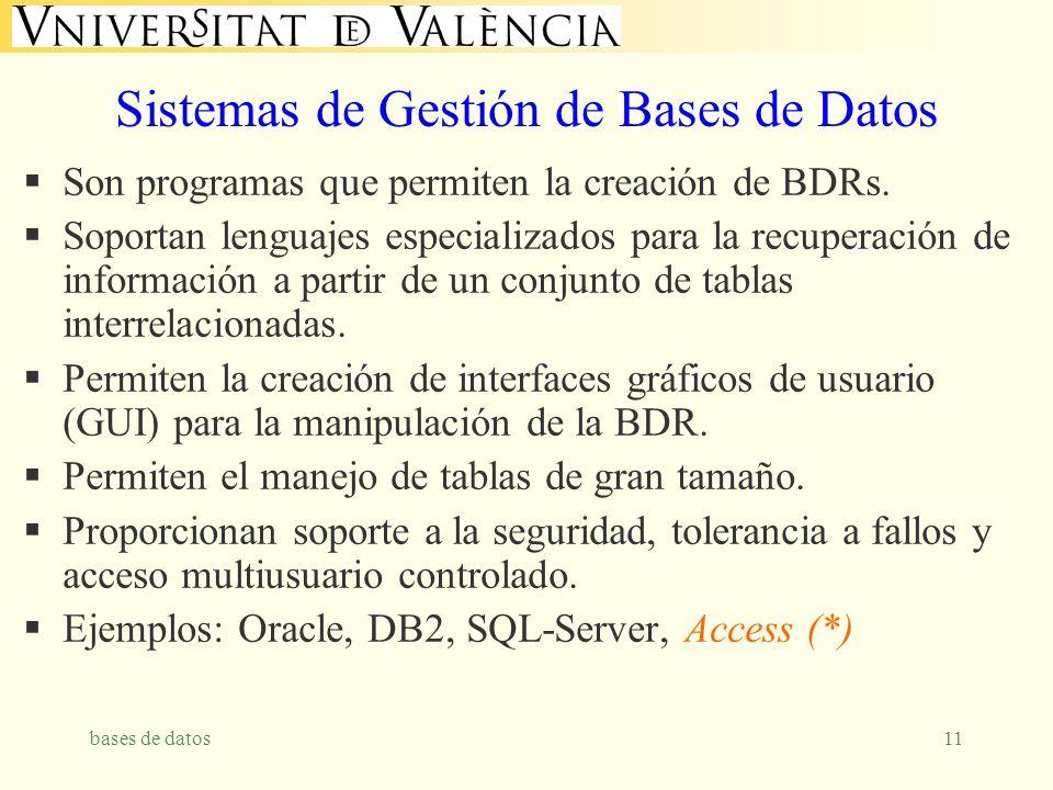 bases de datos11 Sistemas de Gestión de Bases de Datos Son programas que permiten la creación de BDRs. Soportan lenguajes especializados para la recup