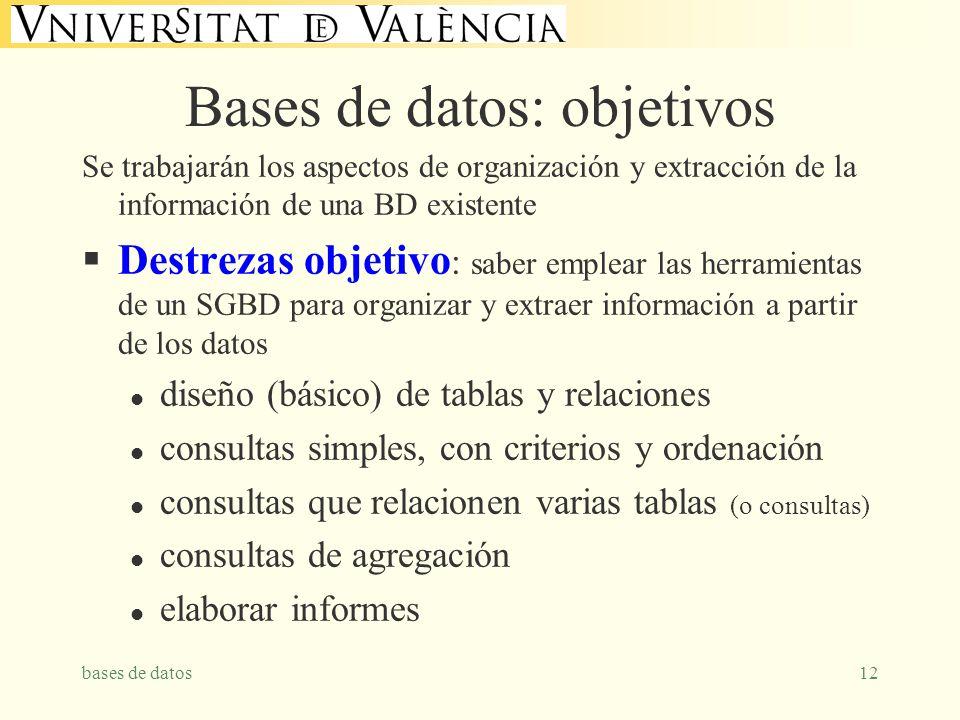 bases de datos12 Bases de datos: objetivos Se trabajarán los aspectos de organización y extracción de la información de una BD existente Destrezas obj
