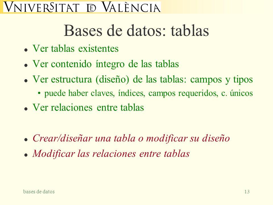 bases de datos13 Bases de datos: tablas l Ver tablas existentes l Ver contenido íntegro de las tablas l Ver estructura (diseño) de las tablas: campos y tipos puede haber claves, índices, campos requeridos, c.