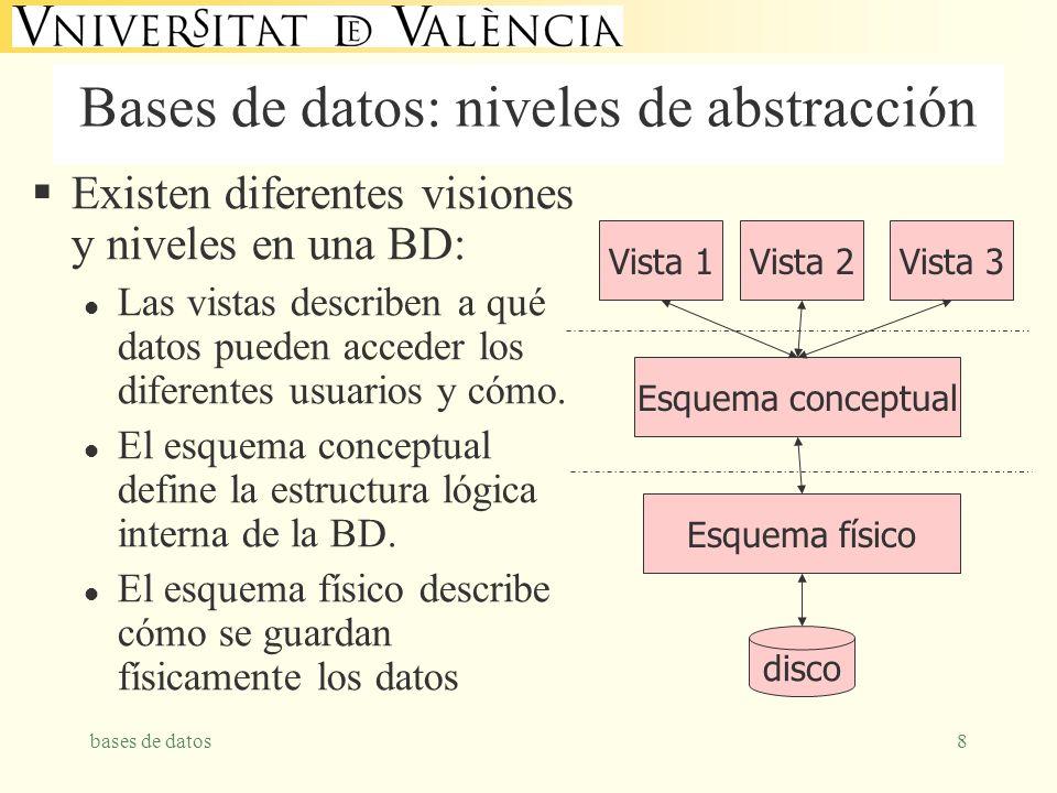 bases de datos8 Bases de datos: niveles de abstracción Existen diferentes visiones y niveles en una BD: l Las vistas describen a qué datos pueden acceder los diferentes usuarios y cómo.