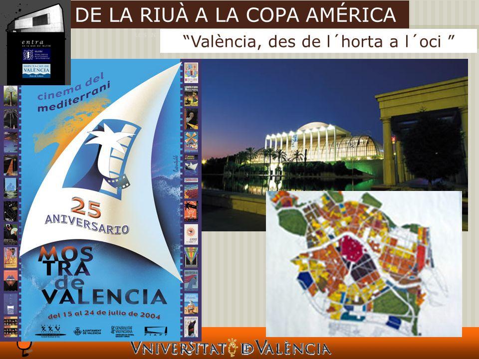 LOS INTANGIBLES Y LAS CIUDADES València, des de l´horta a l´oci DE LA RIUÀ A LA COPA AMÉRICA