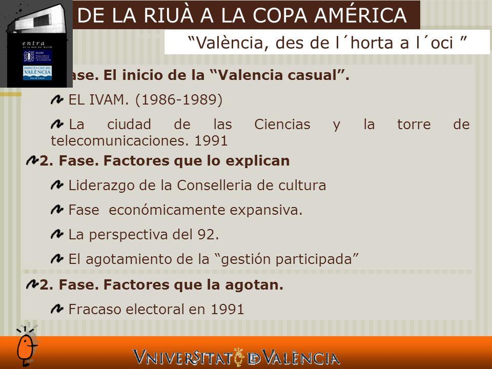 LOS INTANGIBLES Y LAS CIUADES 2. Fase. El inicio de la Valencia casual.