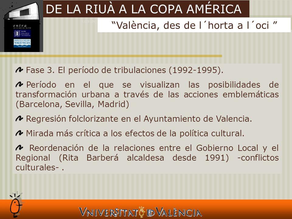 LOS INTANGIBLES Y LAS CIUDADES Fase 3. El período de tribulaciones (1992-1995).