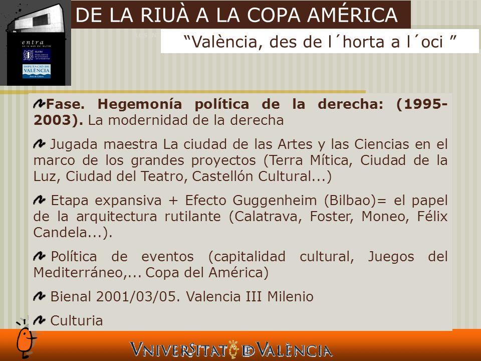 LOS INTANGIBLES Y LAS CIUDADES València, des de l´horta a l´oci DE LA RIUÀ A LA COPA AMÉRICA Fase.
