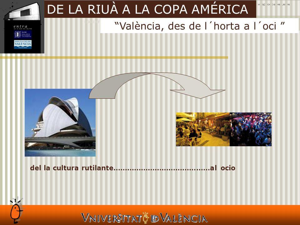 LOS INTANGIBLES Y LAS CIUDADES València, des de l´horta a l´oci DE LA RIUÀ A LA COPA AMÉRICA del la cultura rutilante……………………………………al ocio