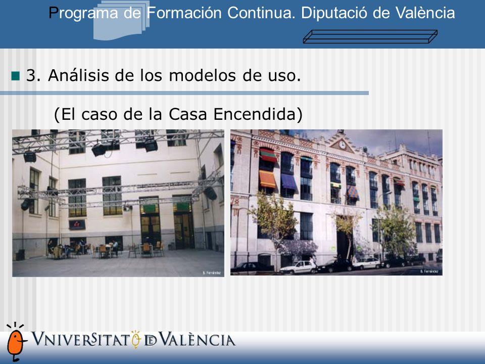 3. Análisis de los modelos de uso. Programa de Formación Continua.