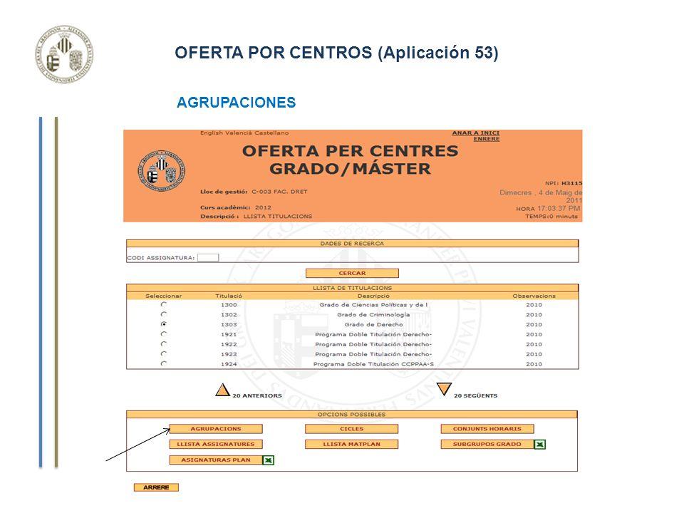 OFERTA POR CENTROS (Aplicación 53) Curso de Gestión Aplicaciones Informáticas AGRUPACIONES