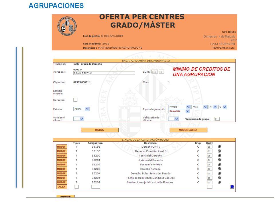 Curso de Gestión Aplicaciones Informáticas AGRUPACIONES MINIMO DE CREDITOS DE UNA AGRUPACION