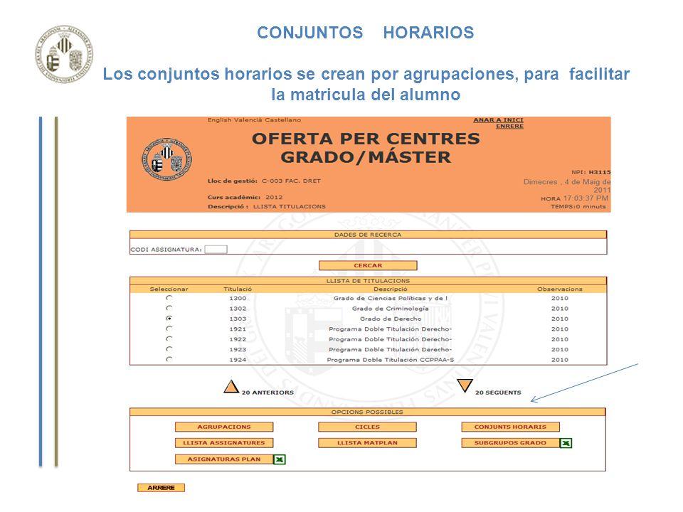 CONJUNTOS HORARIOS Los conjuntos horarios se crean por agrupaciones, para facilitar la matricula del alumno