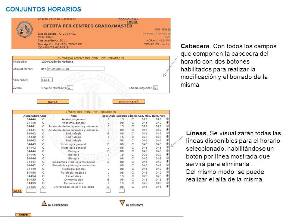 Curso de Gestión Aplicaciones Informáticas CONJUNTOS HORARIOS Cabecera. Con todos los campos que componen la cabecera del horario con dos botones habi