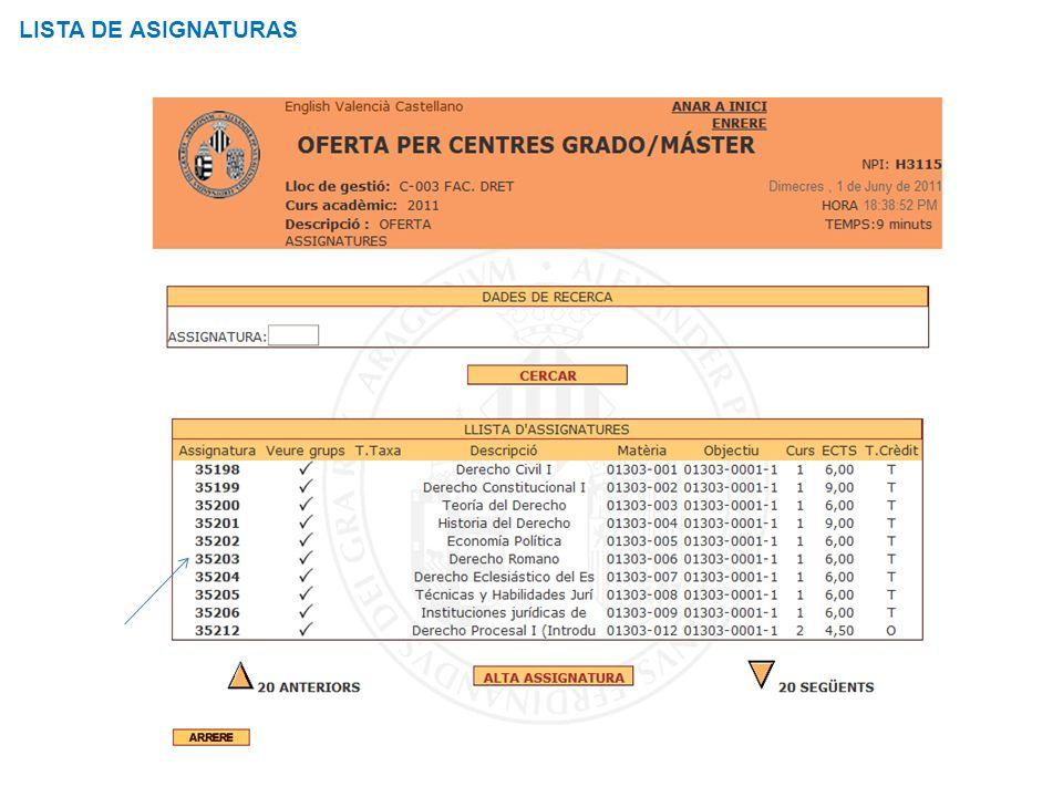Curso de Gestión Aplicaciones Informáticas LISTA DE ASIGNATURAS