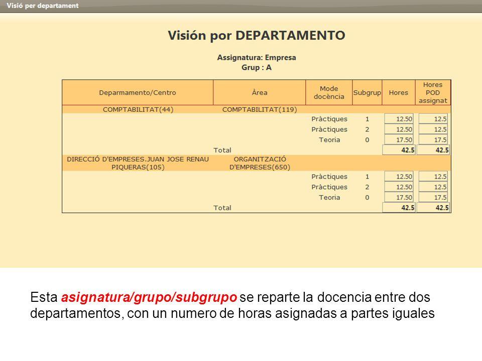 Esta asignatura/grupo/subgrupo se reparte la docencia entre dos departamentos, con un numero de horas asignadas a partes iguales