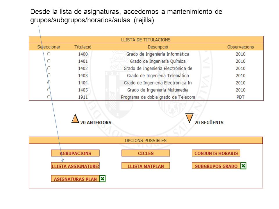 Desde la lista de asignaturas, accedemos a mantenimiento de grupos/subgrupos/horarios/aulas (rejilla)