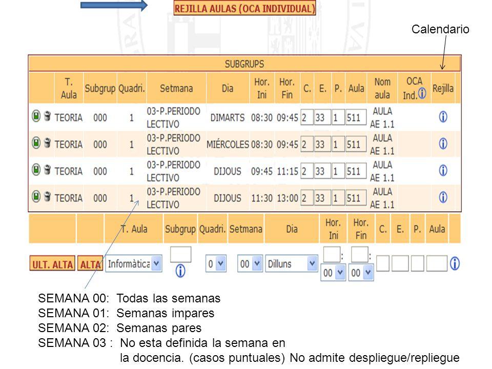 Calendario SEMANA 00: Todas las semanas SEMANA 01: Semanas impares SEMANA 02: Semanas pares SEMANA 03 : No esta definida la semana en la docencia. (ca