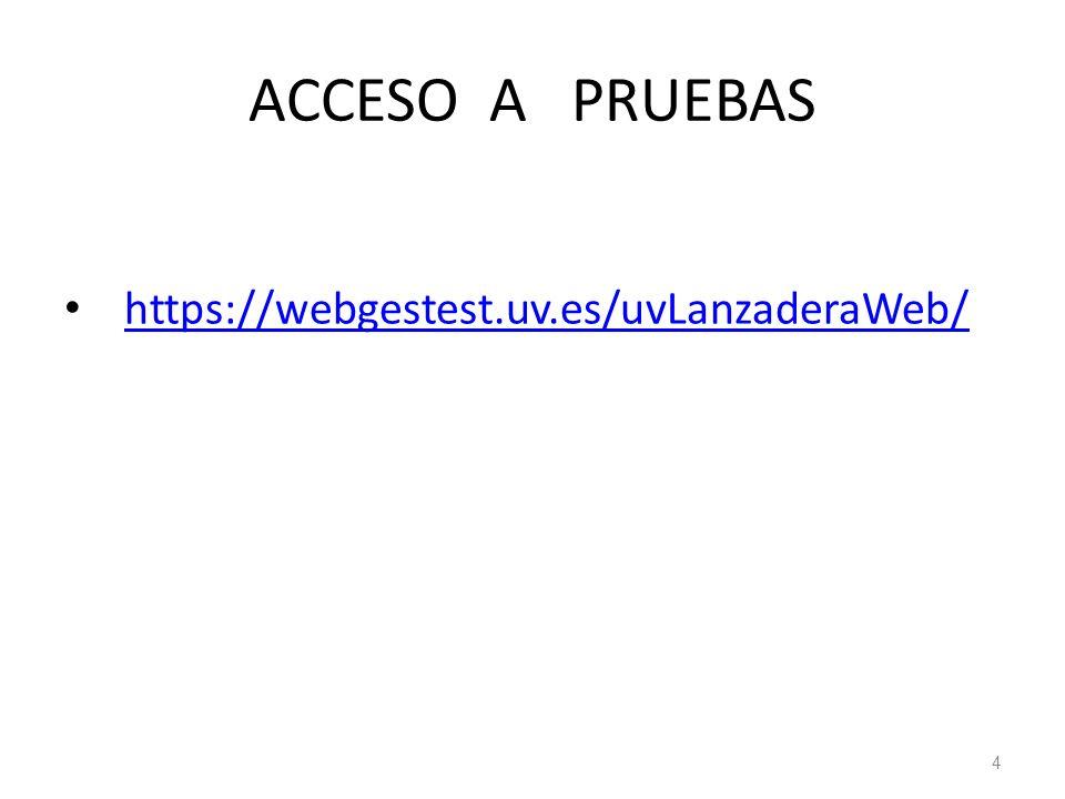 ACCESO A PRUEBAS https://webgestest.uv.es/uvLanzaderaWeb/ 4