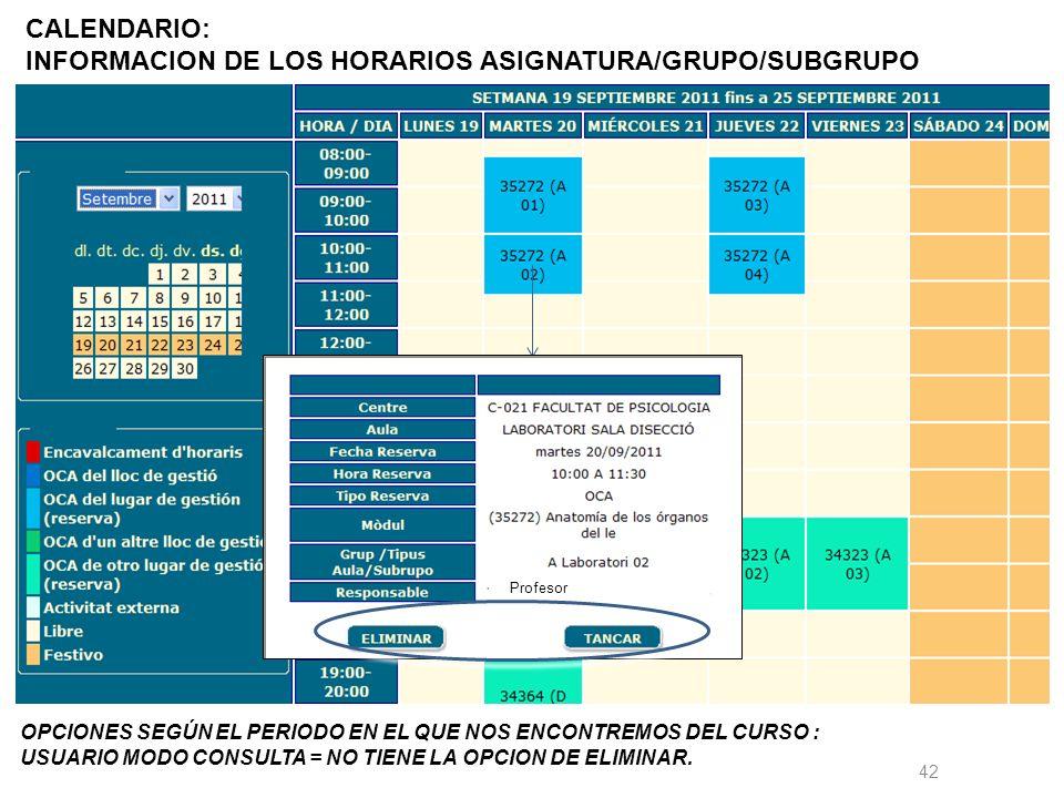 42 CALENDARIO: INFORMACION DE LOS HORARIOS ASIGNATURA/GRUPO/SUBGRUPO OPCIONES SEGÚN EL PERIODO EN EL QUE NOS ENCONTREMOS DEL CURSO : USUARIO MODO CONSULTA = NO TIENE LA OPCION DE ELIMINAR.