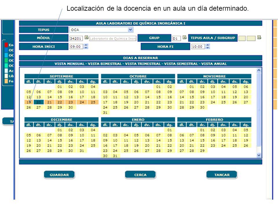 Curso de Gestión Aplicaciones Informáticas Localización de la docencia en un aula un día determinado.