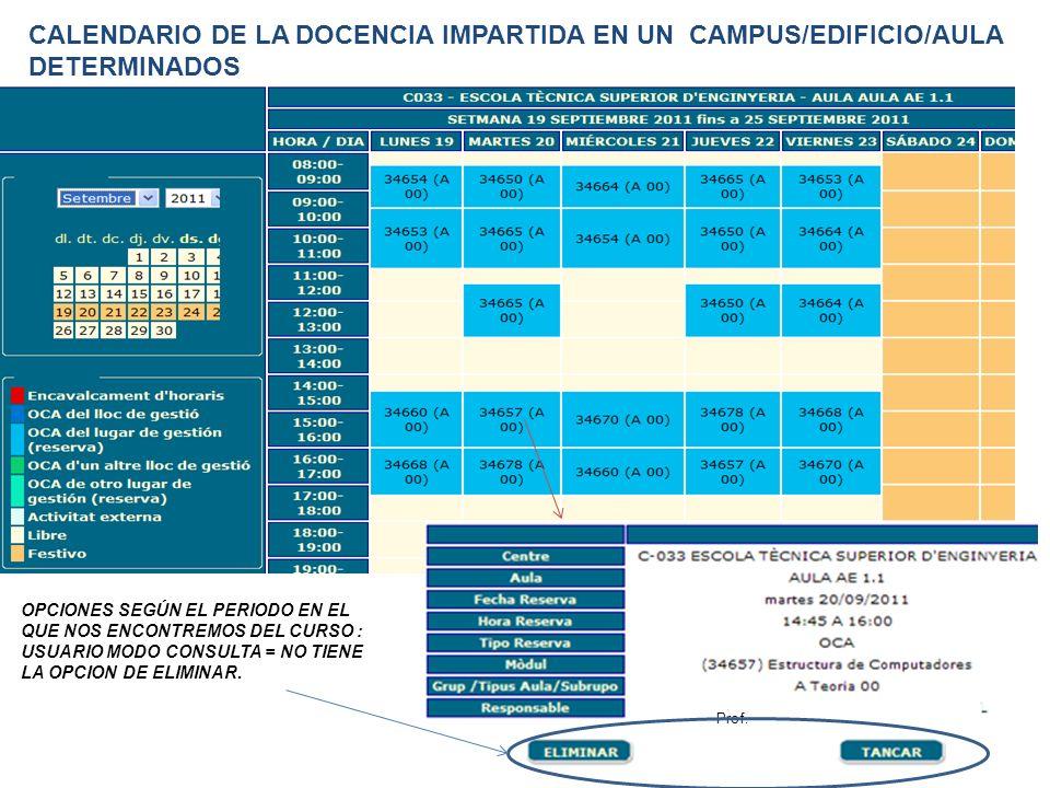 Prof. CALENDARIO DE LA DOCENCIA IMPARTIDA EN UN CAMPUS/EDIFICIO/AULA DETERMINADOS OPCIONES SEGÚN EL PERIODO EN EL QUE NOS ENCONTREMOS DEL CURSO : USUA