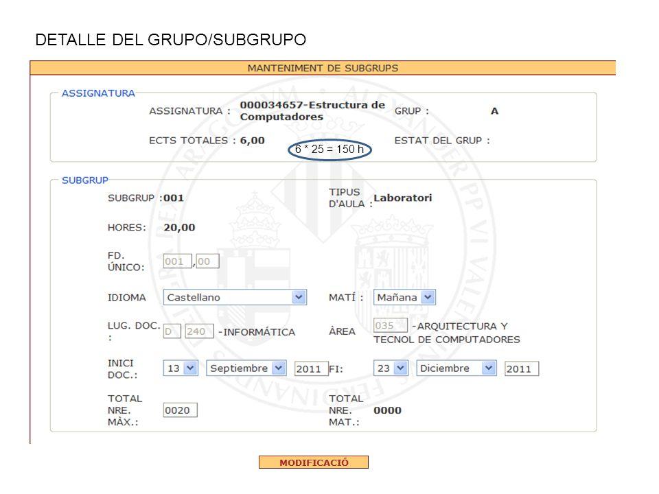 DETALLE DEL GRUPO/SUBGRUPO 6 * 25 = 150 h