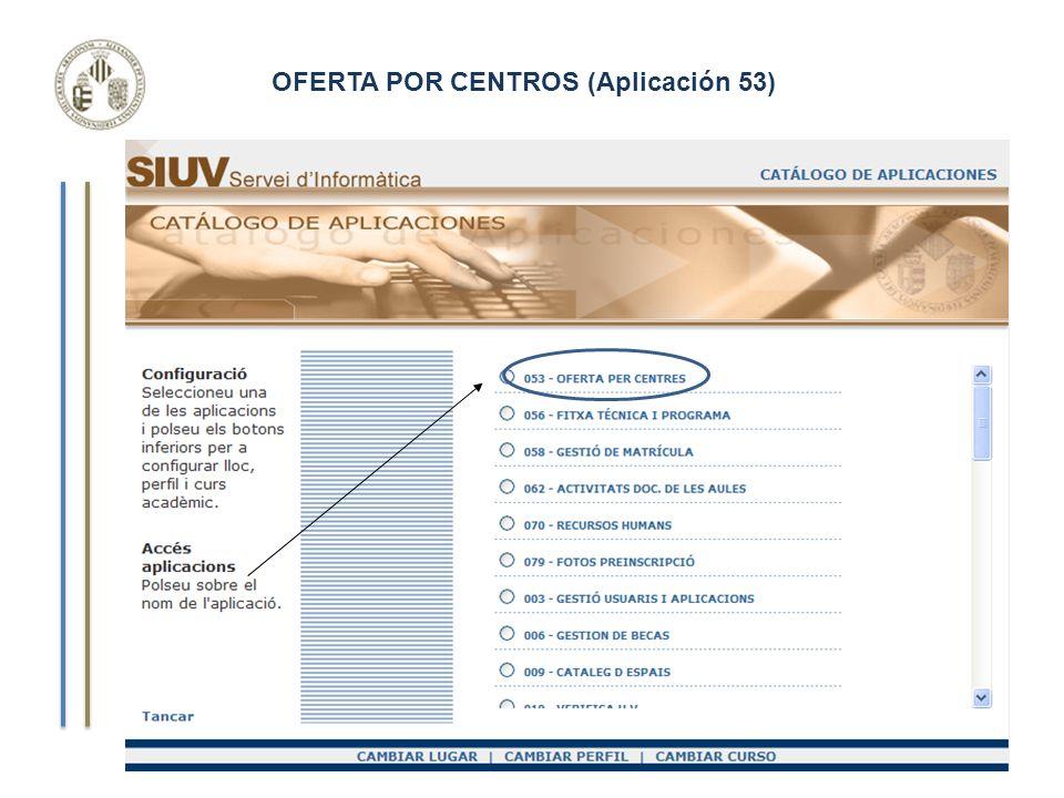 OFERTA POR CENTROS (Aplicación 53) Curso de Gestión Aplicaciones Informáticas