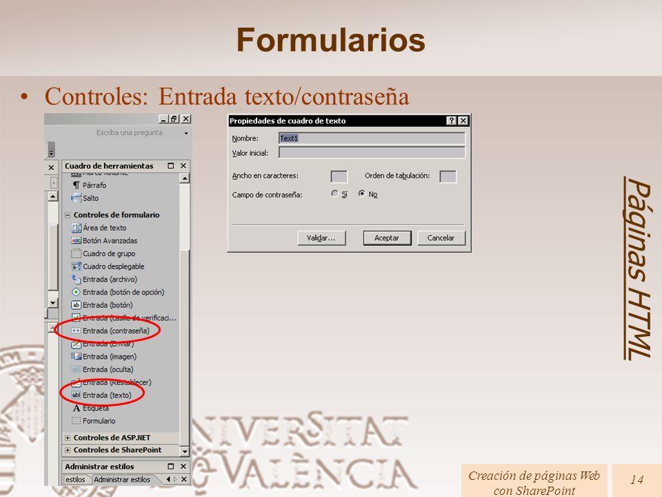 Creación de páginas Web con SharePoint Páginas HTML 14 Formularios Controles: Entrada texto/contraseña