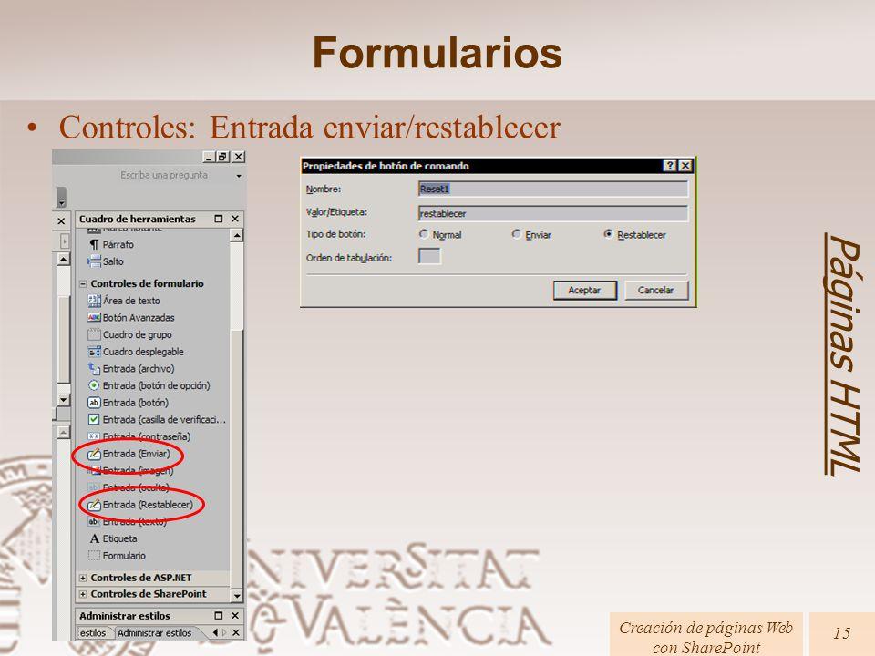 Creación de páginas Web con SharePoint Páginas HTML 15 Formularios Controles: Entrada enviar/restablecer