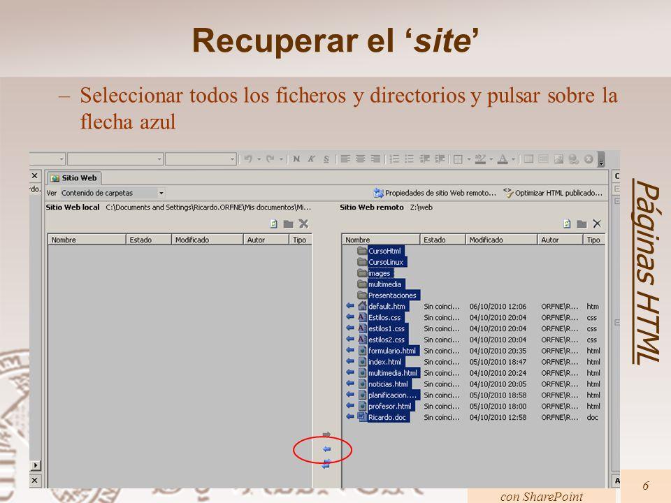 Creación de páginas Web con SharePoint 37 Páginas HTML Contenidos multimedia Pon a la página del curso como sonido de fondo http://www.uv.es/rferris/Multimedia/Requiem.mp3 Guarda y publica la nueva página y observa los resultados.