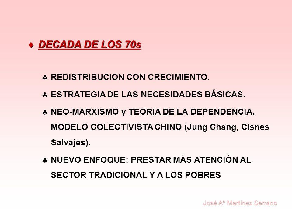 DECADA DE LOS 70s DECADA DE LOS 70s REDISTRIBUCION CON CRECIMIENTO. ESTRATEGIA DE LAS NECESIDADES BÁSICAS. NEO-MARXISMO y TEORIA DE LA DEPENDENCIA. MO