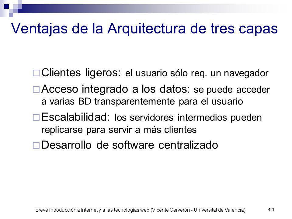 Breve introducción a Internet y a las tecnologías web (Vicente Cerverón - Universitat de València) 10 Arquitectura de tres capas