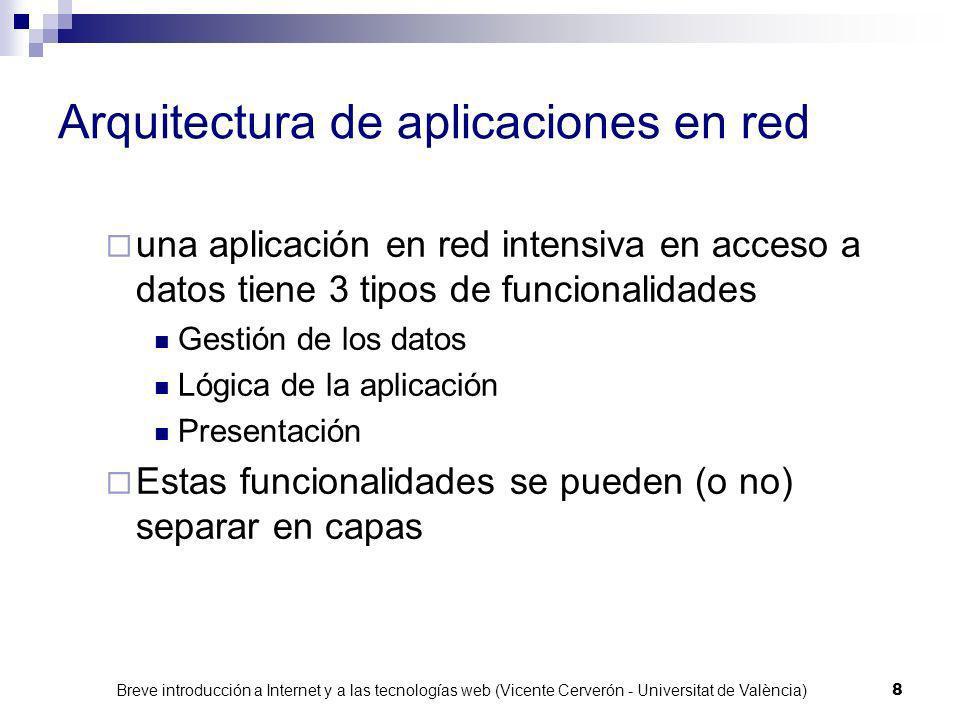 Breve introducción a Internet y a las tecnologías web (Vicente Cerverón - Universitat de València) 8 Arquitectura de aplicaciones en red una aplicación en red intensiva en acceso a datos tiene 3 tipos de funcionalidades Gestión de los datos Lógica de la aplicación Presentación Estas funcionalidades se pueden (o no) separar en capas