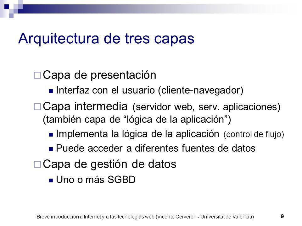 Breve introducción a Internet y a las tecnologías web (Vicente Cerverón - Universitat de València) 9 Arquitectura de tres capas Capa de presentación Interfaz con el usuario (cliente-navegador) Capa intermedia (servidor web, serv.