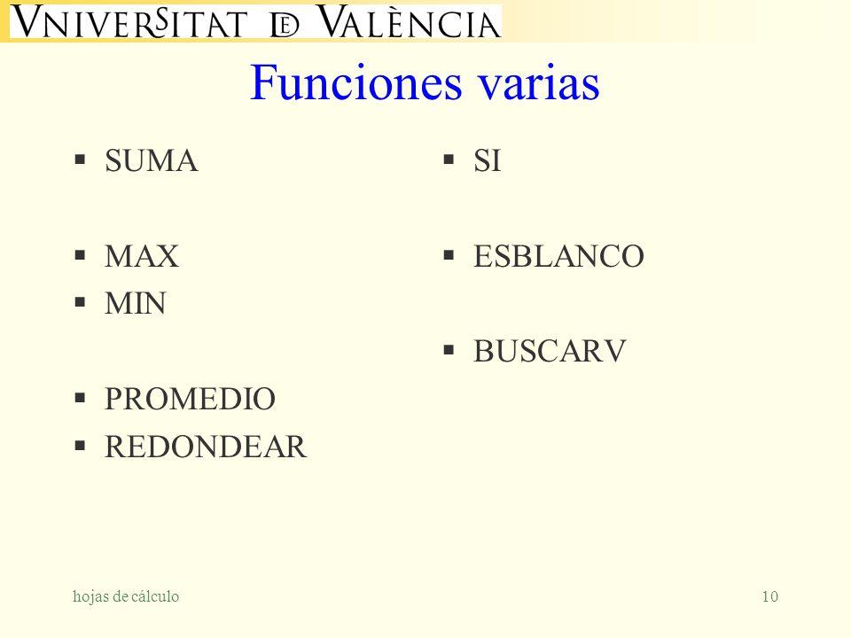 hojas de cálculo10 Funciones varias SUMA MAX MIN PROMEDIO REDONDEAR SI ESBLANCO BUSCARV