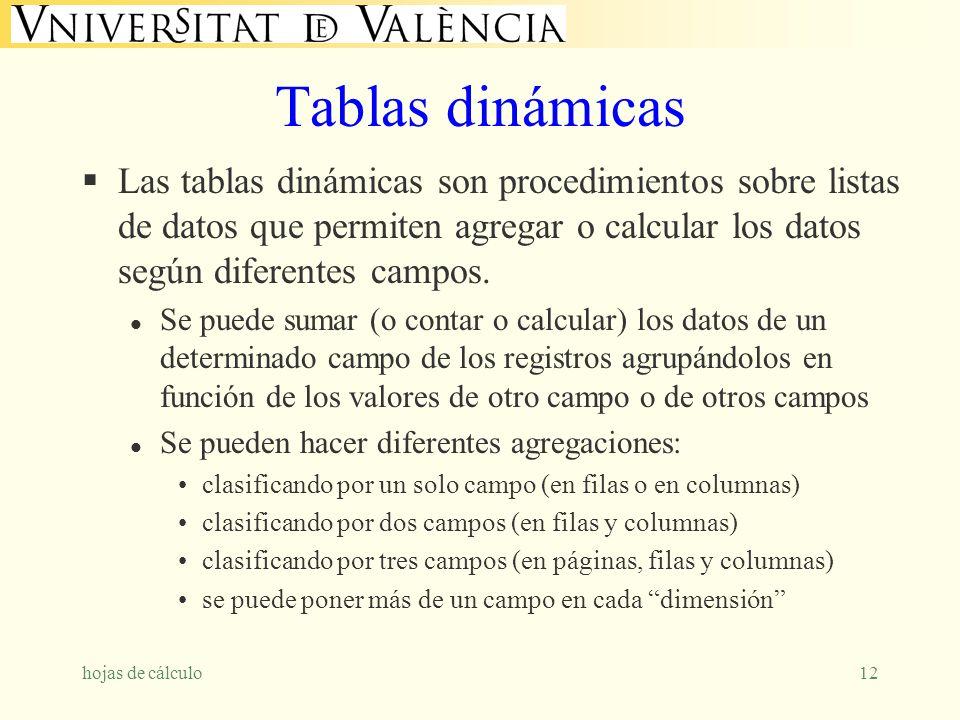 hojas de cálculo12 Tablas dinámicas Las tablas dinámicas son procedimientos sobre listas de datos que permiten agregar o calcular los datos según dife
