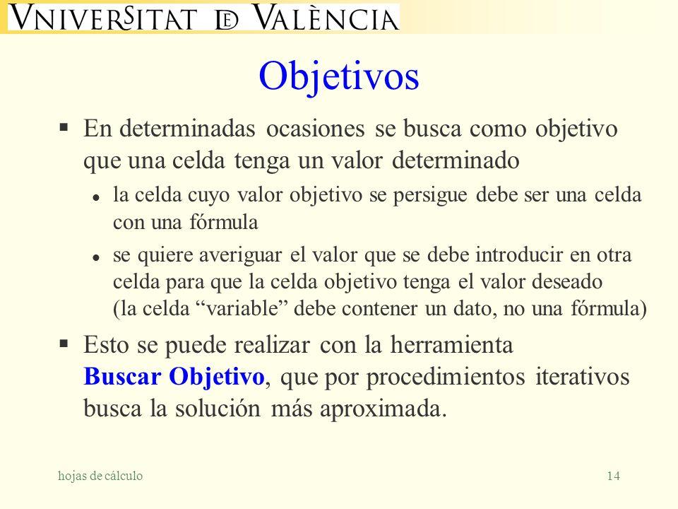 hojas de cálculo14 Objetivos En determinadas ocasiones se busca como objetivo que una celda tenga un valor determinado l la celda cuyo valor objetivo
