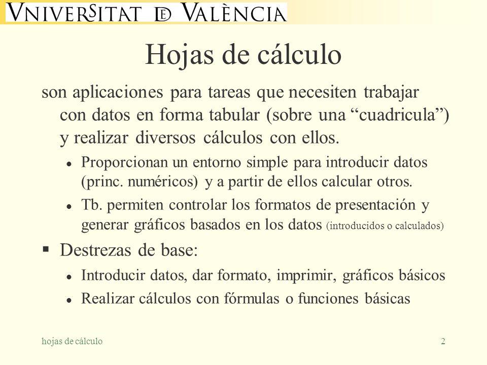 hojas de cálculo2 Hojas de cálculo son aplicaciones para tareas que necesiten trabajar con datos en forma tabular (sobre una cuadricula) y realizar di