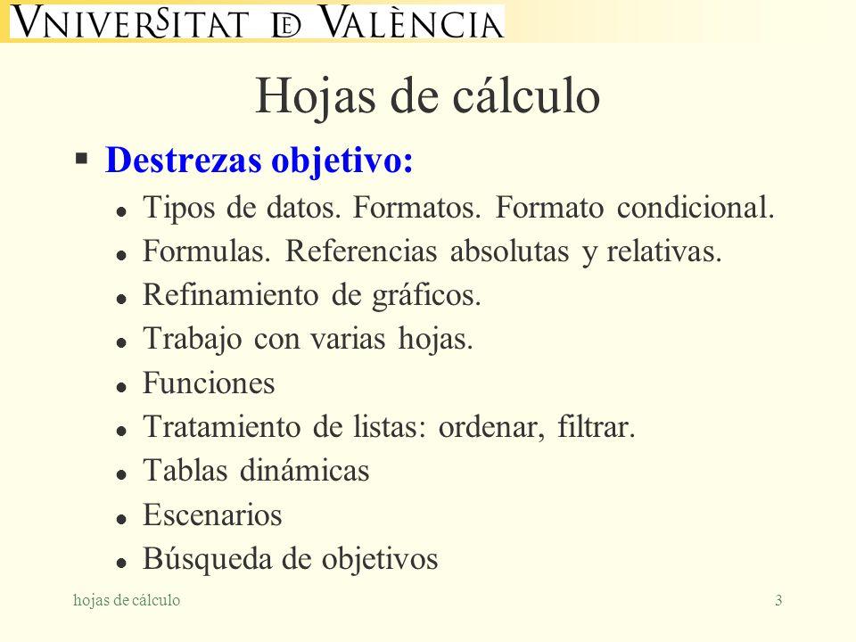 hojas de cálculo3 Hojas de cálculo Destrezas objetivo: l Tipos de datos. Formatos. Formato condicional. l Formulas. Referencias absolutas y relativas.
