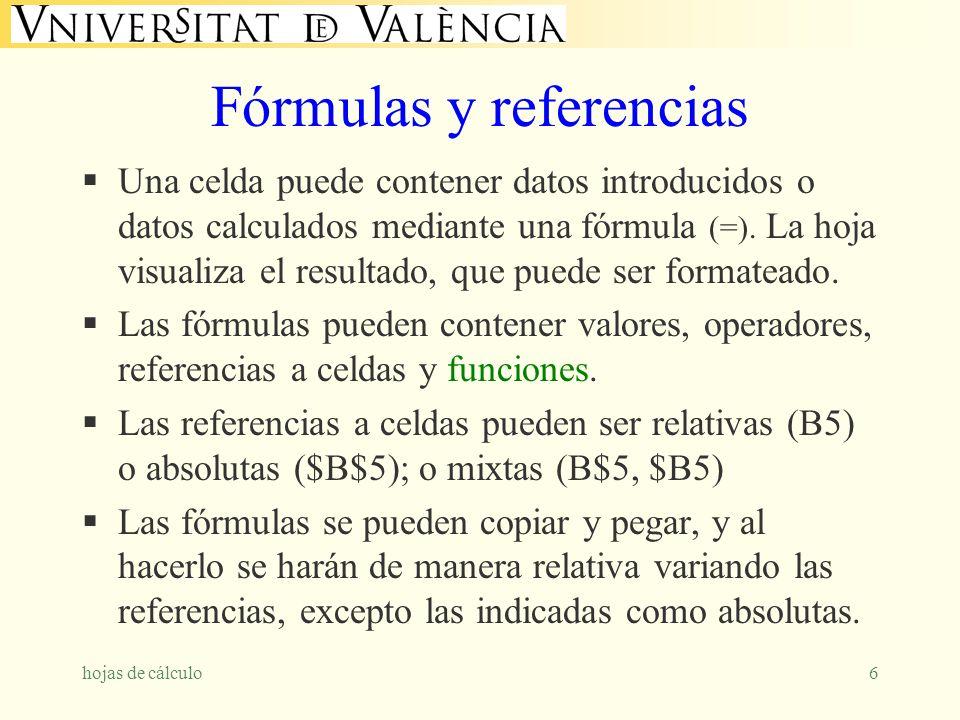 hojas de cálculo6 Fórmulas y referencias Una celda puede contener datos introducidos o datos calculados mediante una fórmula (=). La hoja visualiza el