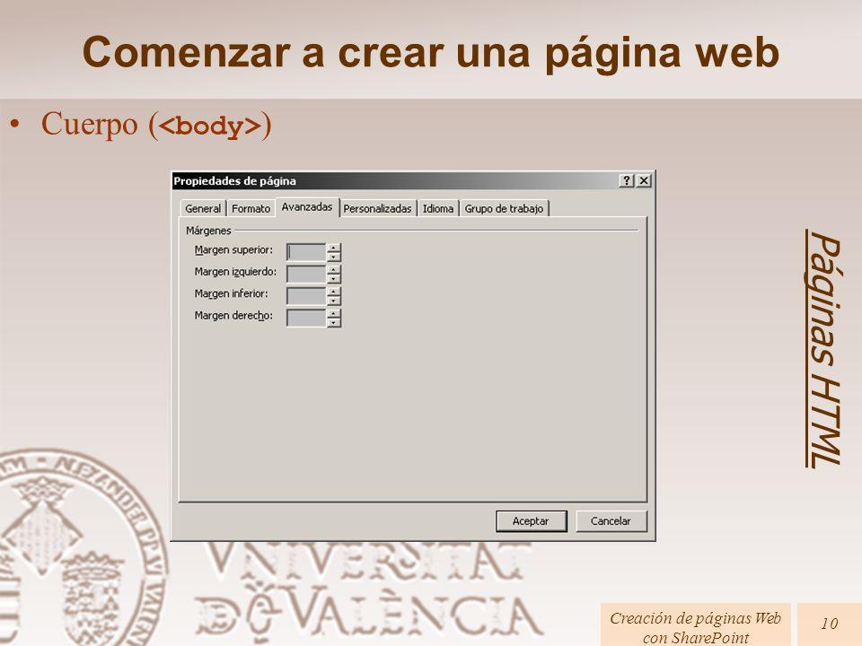 Cuerpo ( ) Comenzar a crear una página web Páginas HTML Creación de páginas Web con SharePoint 10