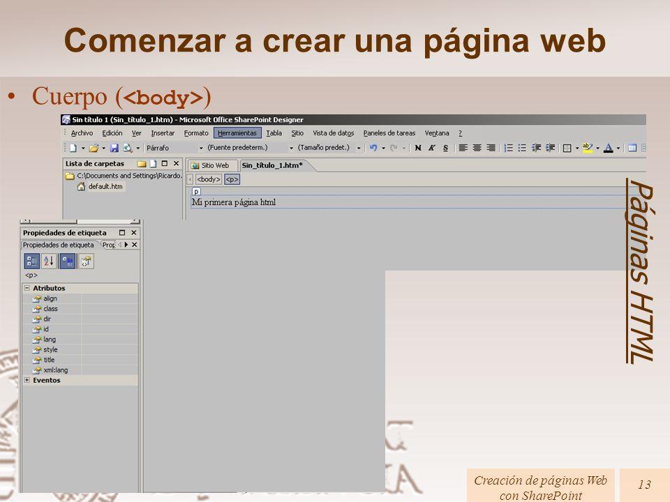 Páginas HTML Creación de páginas Web con SharePoint 13 Cuerpo ( ) Comenzar a crear una página web