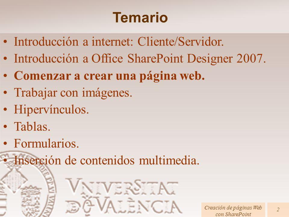 Páginas HTML Creación de páginas Web con SharePoint 23 Listas: –Listas desordenadas: Internet y web.